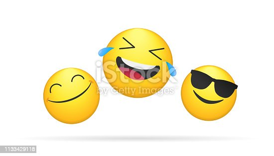 Three laughing emoticons bright vector concept illustration of smiling emoji icons for chat, messengers and networks. Flat positive heads emotions symbol isolated on white background