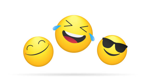 laughing bright emoticon vector concept illustration of smiling emoji icon for chat, messengers and networks - radość stock illustrations