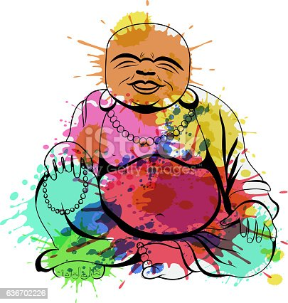 istock Laughing Buddha or Hotei sitting. Vector illustration. 636702226