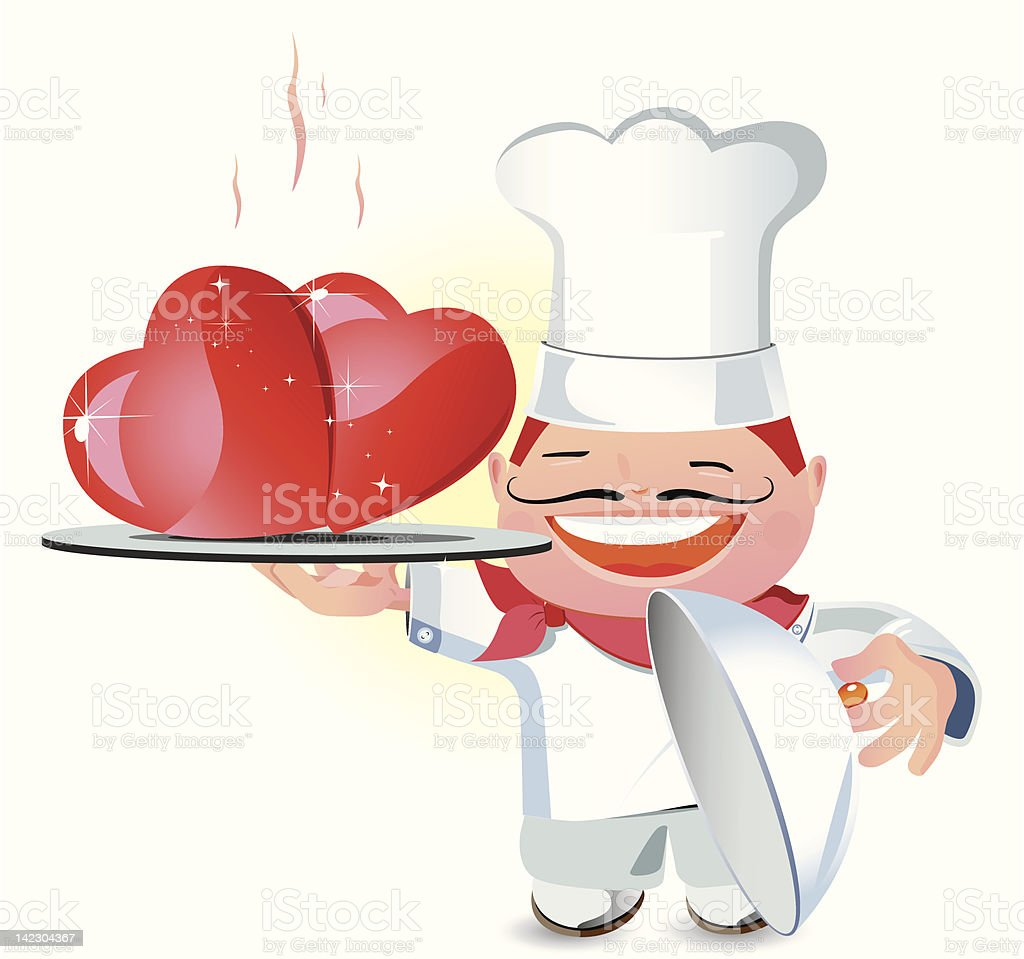 Laughing chef serving roast meat royalty-free stock vector art