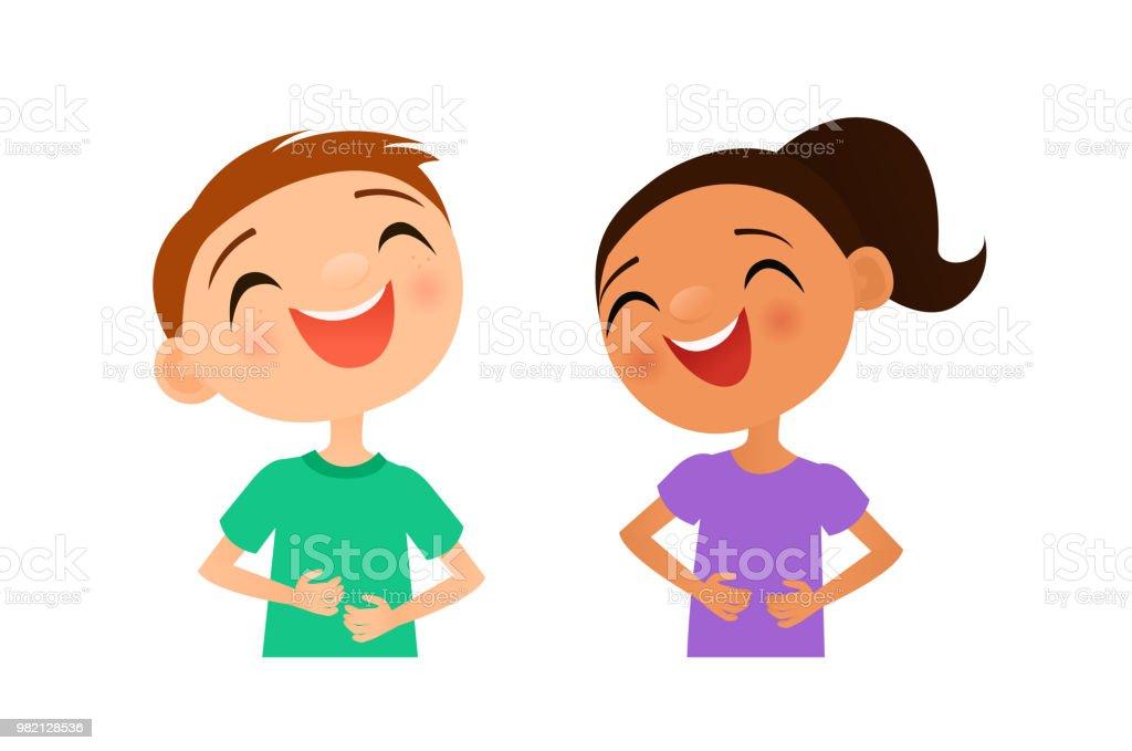 Laughing children vector art illustration