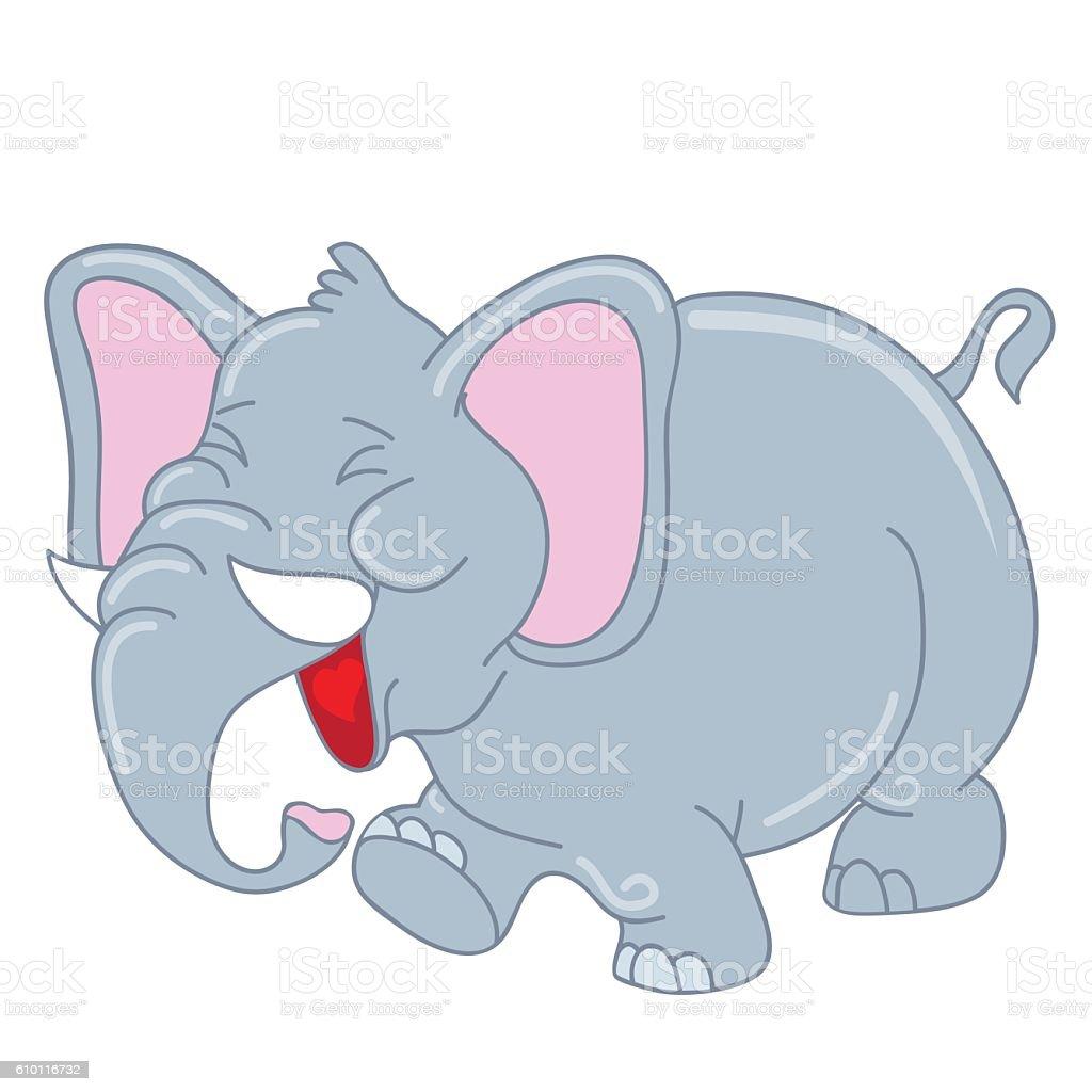 laughing elephant vector cartoon illustration stock vector art