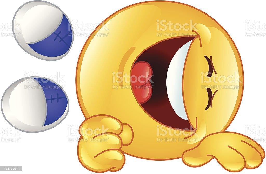 Laughing emoticon vector art illustration
