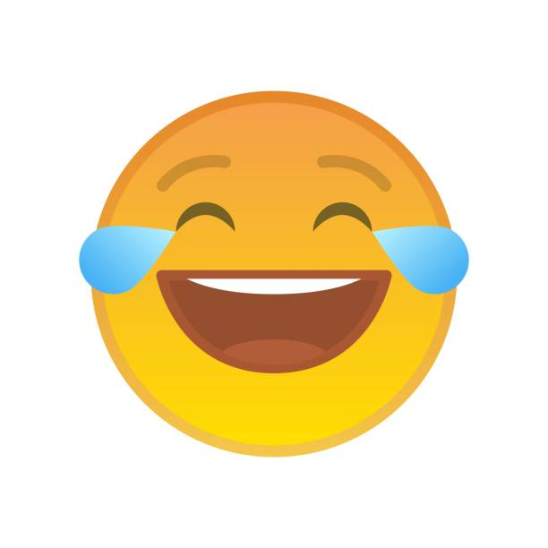 laughing emoticon with tears of joy - tears of joy emoji stock illustrations