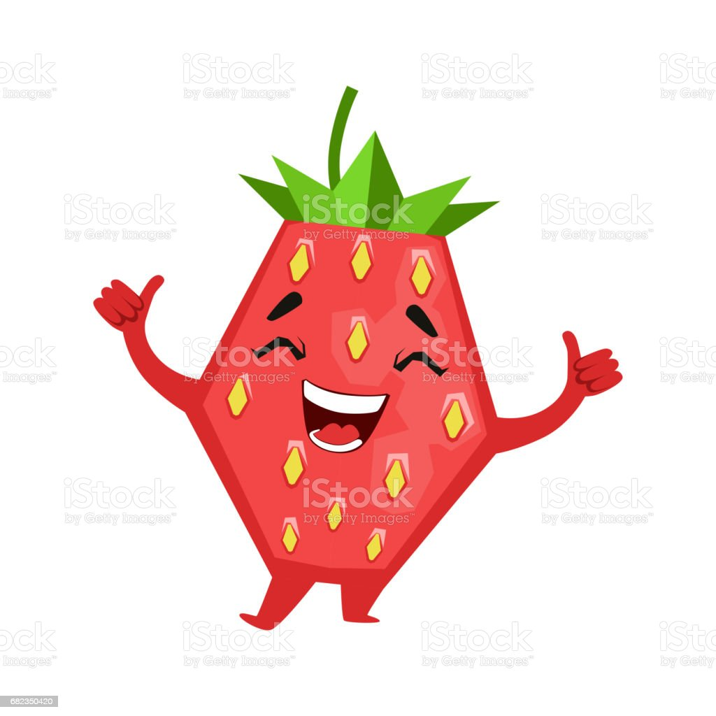 Laughing funny strawberry. Cute cartoon emoji character vector Illustration royalty free laughing funny strawberry cute cartoon emoji character vector illustration stockvectorkunst en meer beelden van bes