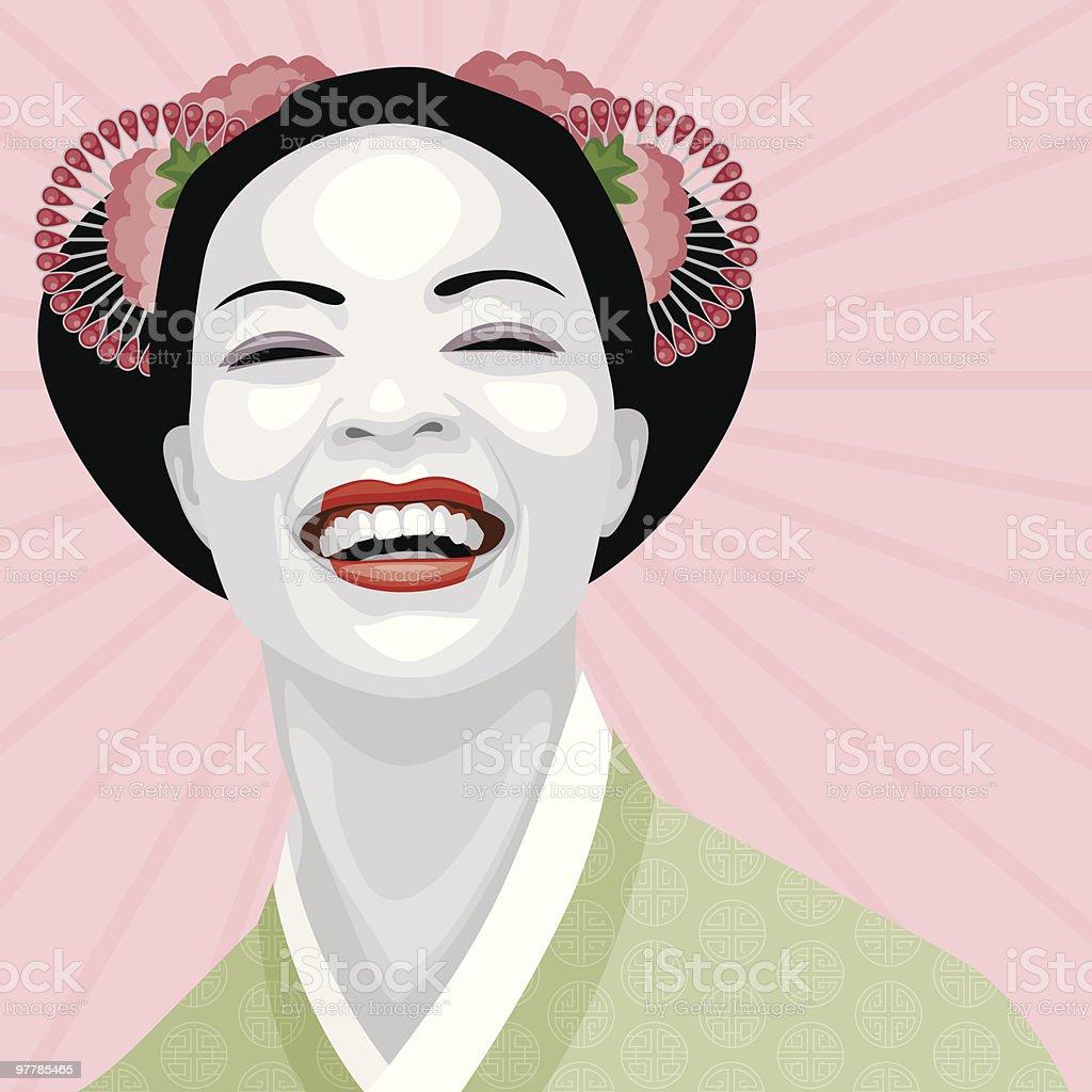 Laughing Geisha vector art illustration