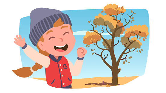 Laughing girl kid enjoying walking in park on sunny autumn day. Happy smiling child person wearing knitted hat, jacket. Tree with yellow foliage leaves. Fall season weather flat vector illustration