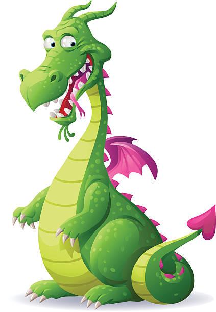 laughing green dragon - dragon stock illustrations, clip art, cartoons, & icons