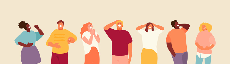 Laughing group of people vector