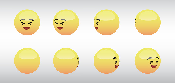3D Laughing Head Emoticon Spinning Social Media Icons Vector