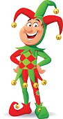 Vector illustration of a laughing jester with his hands on his hips, wearing a red/green, checked costume, isolated on white.