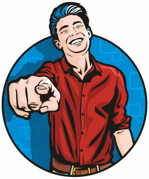 Laughing Man Pointing at You vector art illustration