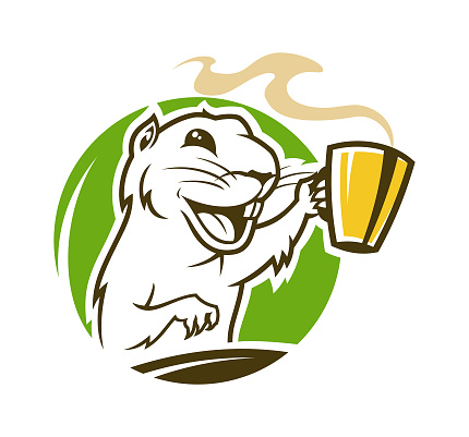 Laughing marmot cartoon character. Gopher outline silhouette with cup of hot coffee or tea