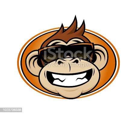 Laughing cartoon monkey head in sunglasses mascot vector emblem