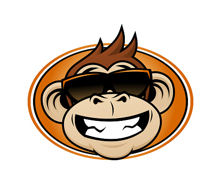 Laughing monkey head cartoon mascot in sunglasses