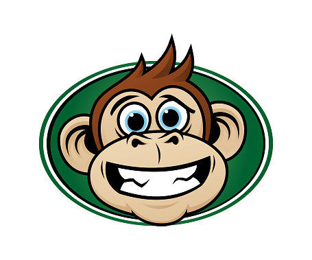 Laughing monkey head cartoon mascot