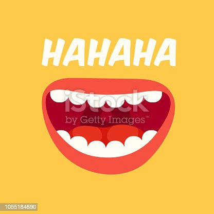 istock Laughing mouth. April Fools Day. Loud laugh and LOL vector yellow background 1055184890