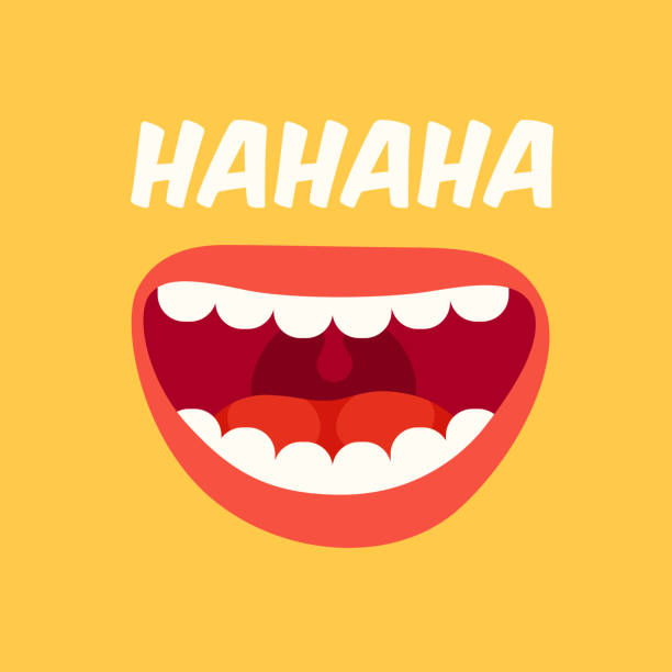 laughing mouth. april fools day. loud laugh and lol vector yellow background - radość stock illustrations