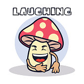 laughing mushroom cartoon character. vector illustration