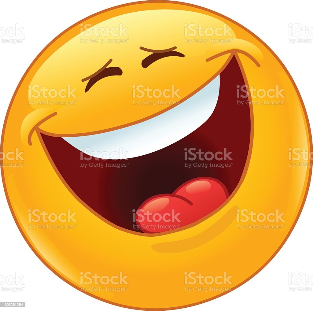 Laughing out loud with closed eyes emoticon vector art illustration