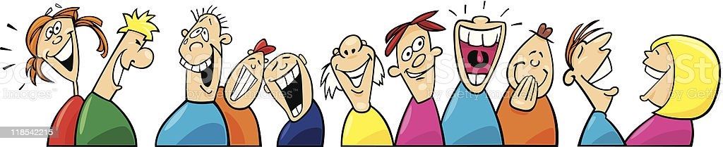 Laughing people in multicolored shirts vector art illustration