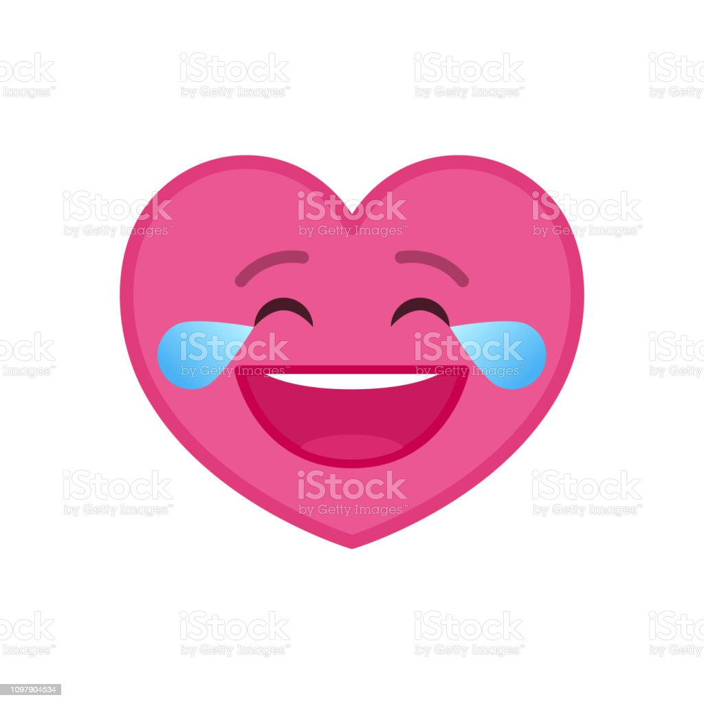 Laughing tears heart shaped funny emoticon icon vector art illustration