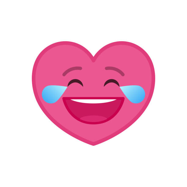 laughing tears heart shaped funny emoticon icon - tears of joy emoji stock illustrations, clip art, cartoons, & icons