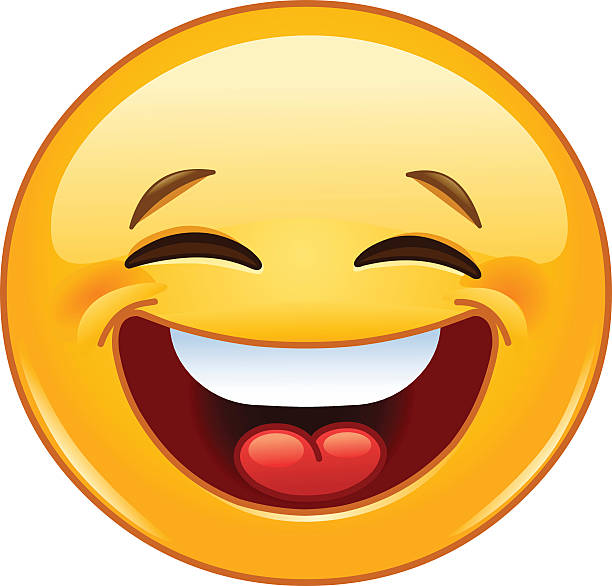 laughing with closed eyes emoticon - toothy smile stock illustrations