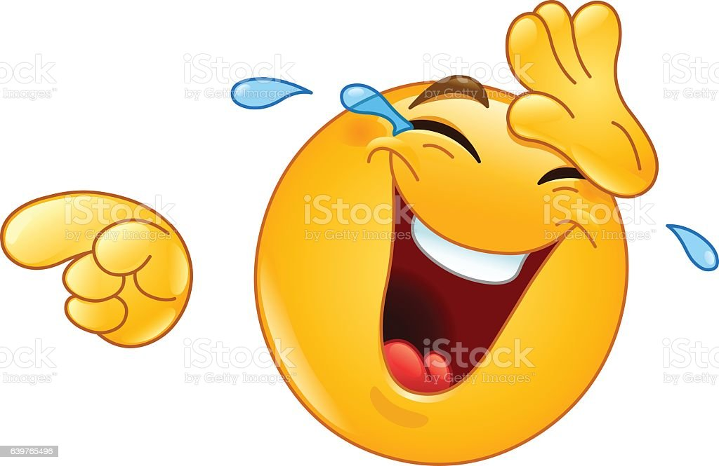 Laughing with tears and pointing emoticon vector art illustration