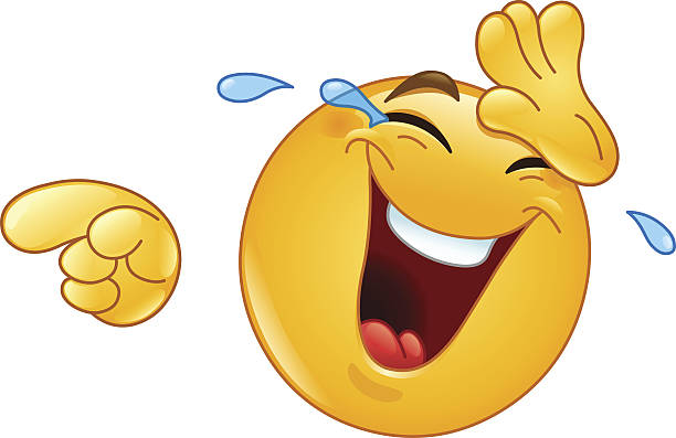 laughing with tears and pointing emoticon - tears of joy emoji stock illustrations