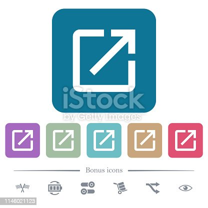 Launch application white flat icons on color rounded square backgrounds. 6 bonus icons included