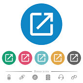istock Launch application flat round icons 1135700755