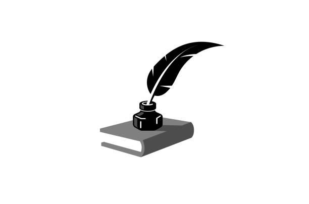 ilustrações de stock, clip art, desenhos animados e ícones de launch book reading logo - tinteiro
