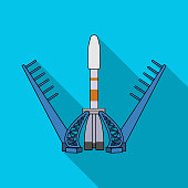 Launch of the spaceship. Space technology single icon in flat style vector symbol stock illustration web.