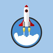 Launching Rocket Starting From Circle Flat Vector