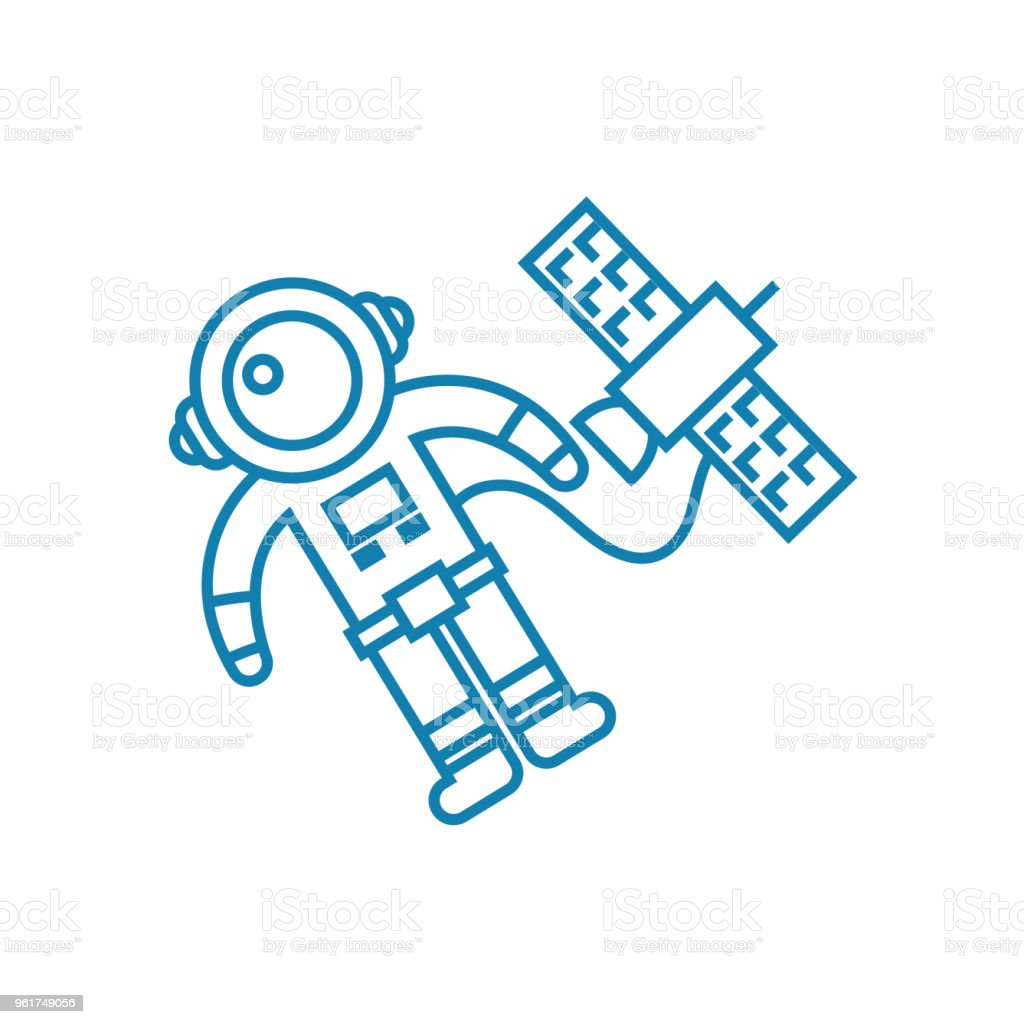 Launching the satellite linear icon concept. Launching the satellite line vector sign, symbol, illustration. vector art illustration