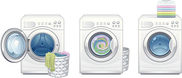 launder - washing machine stock illustrations, clip art, cartoons, & icons