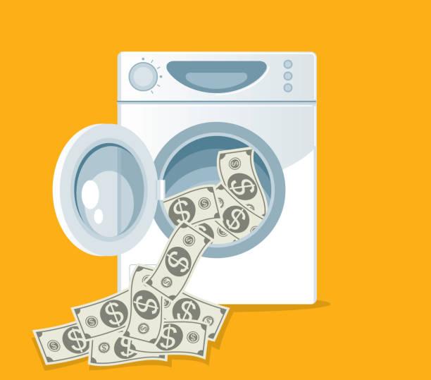 waschen von währung - waschmaschine stock-grafiken, -clipart, -cartoons und -symbole