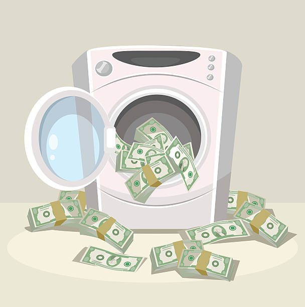bildbanksillustrationer, clip art samt tecknat material och ikoner med laundering of money in washer - dirty money