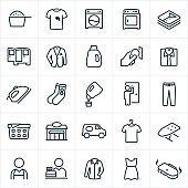 A set of laundromat and dry-cleaning icons. The icons include a washing machine, drying machine, laundry, laundry detergent, stained shirt, clean cloths, delivery, suit coat, dress shirt, iron, socks, pickup, pants, storefront, delivery van, ironing board, worker, employee, cleaner and dress to name a few.