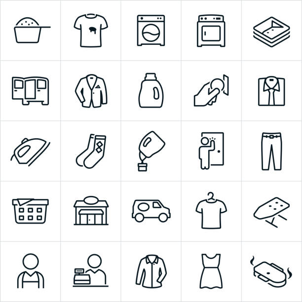 Laundromat and Drycleaning Icons A set of laundromat and dry-cleaning icons. The icons include a washing machine, drying machine, laundry, laundry detergent, stained shirt, clean cloths, delivery, suit coat, dress shirt, iron, socks, pickup, pants, storefront, delivery van, ironing board, worker, employee, cleaner and dress to name a few. laundry basket stock illustrations
