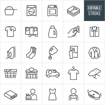 Laundromat Thin Line Icons - Editable Stroke