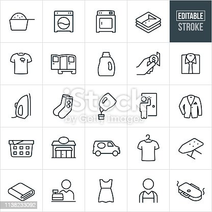 A set laundromat icons that include editable strokes or outlines using the EPS vector file. The icons include a laundromat, washing machine, dryer, laundry, laundry detergent, clean cloths, dirty cloths, delivery van, coin operated machine, dress shirt, iron, socks, pick-up, suit jacket, laundry basket, ironing board, cashier, dress and laundry press to name just a few.