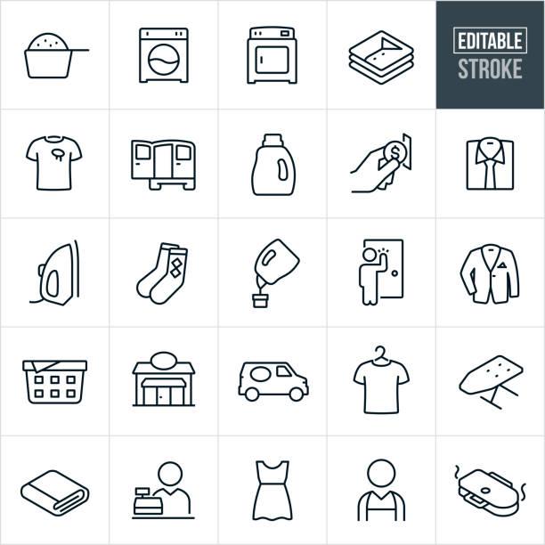 stockillustraties, clipart, cartoons en iconen met wasserette dunne lijn iconen-bewerkbare stroke - clothes