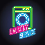 laundry advertisement plank with neon light effect. vector illustration