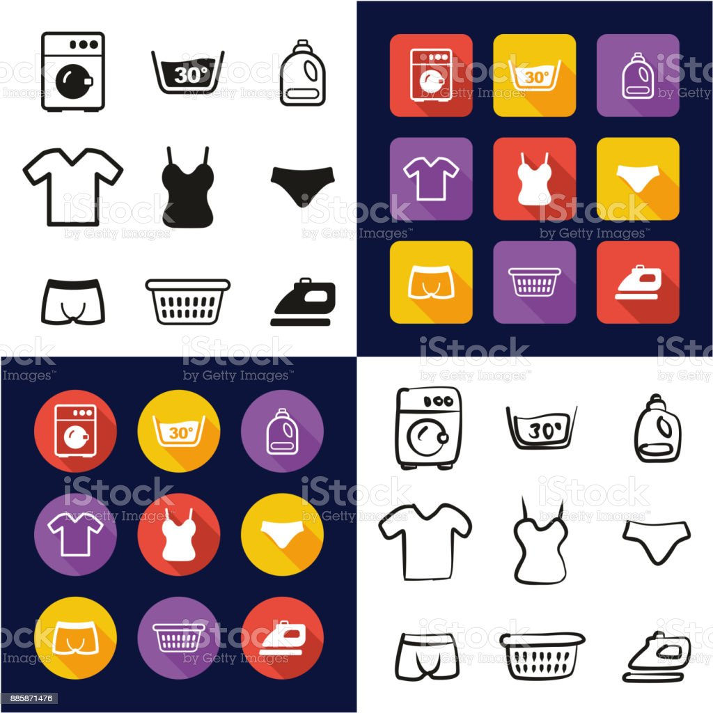 Laundry All in One Icons Black & White Color Flat Design Freehand Set vector art illustration