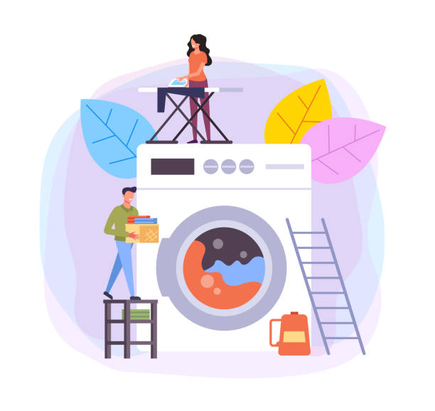 Laundry and dry cleaning clothes service steps illustration. Vector flat cartoon graphic design Laundry and dry cleaning clothes service steps illustration. Vector flat cartoon graphic washing stock illustrations