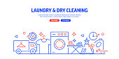 Laundry and Dry Cleaning Related Web Banner Line Style. Modern Linear Design Vector Illustration for Web Banner, Website Header etc.