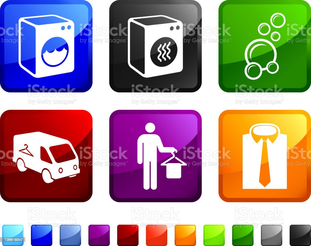 laundry and dry cleaning royalty free vector icon set stickers royalty-free stock vector art