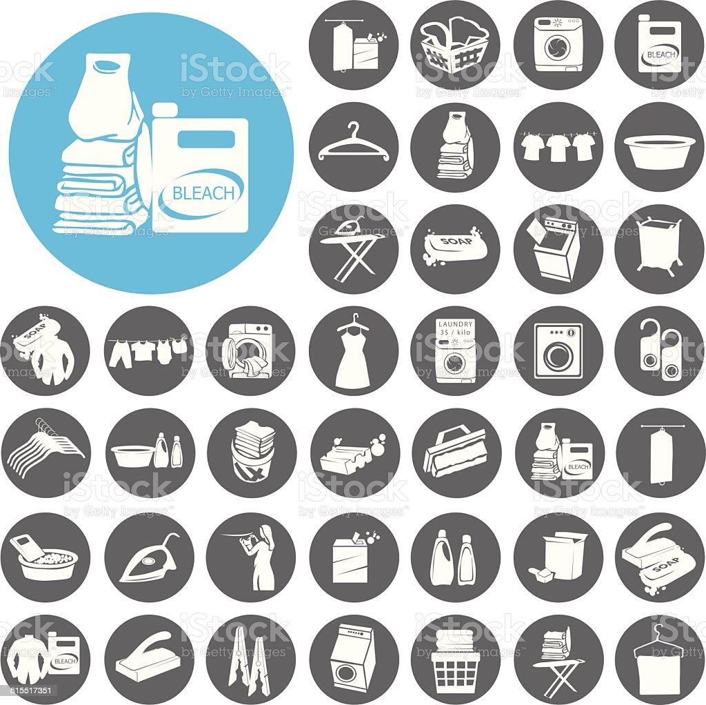 Wäscherei und Waschen Icons set.  Illustration eps10 – Vektorgrafik